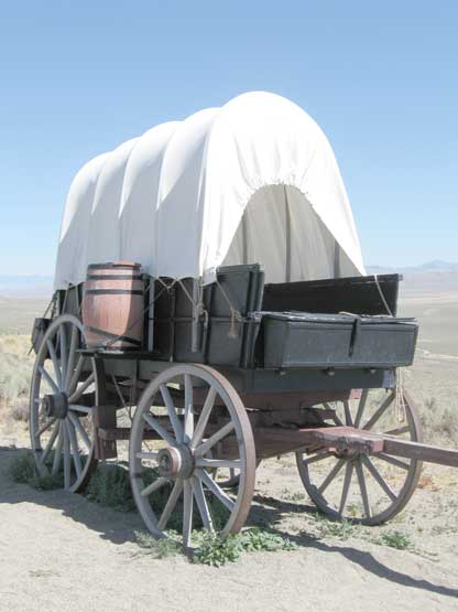 We will draw actual covered wagons...